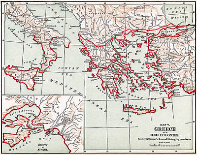 Drawing - Map Of Ancient Greece, C1894 by Granger