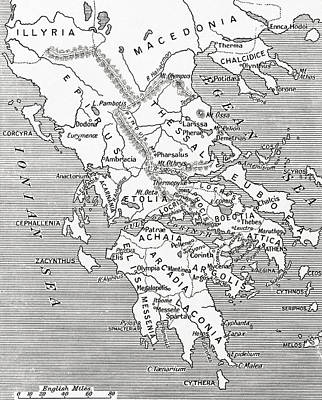 Map Of Ancient Greece Art Print by English School