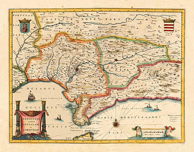 Vintage Map Photograph - Map Of Andalusia 1650 by Andrew Fare