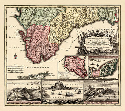 Photograph - Map Of Andalusia 1720b by Andrew Fare