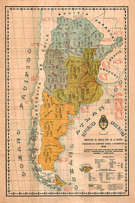 Photograph - Map Of Argentina 1925 by Andrew Fare