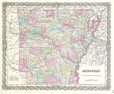 Drawing - Map Of Arkansas by Joseph Hutchins Colton