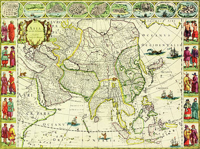 Map Of Asia From 1632 Art Print by J Blaeu