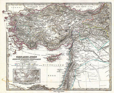 Syria Painting - Map Of Asia Minor Syria And Israel by Celestial Images