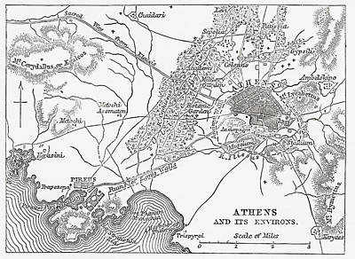 Athens Drawing - Map Of Athens And Piraeus, Greece, Mid by Vintage Design Pics