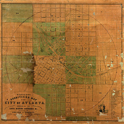 Photograph - Map Of Atlanta 1850 by Andrew Fare