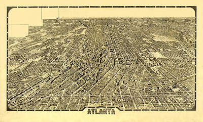 Impressionist Landscapes - Map Of Atlanta 1919 by Andrew Fare