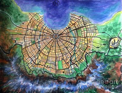 Atlantis Painting - Map Of Atlantis by Sofia Metal Queen