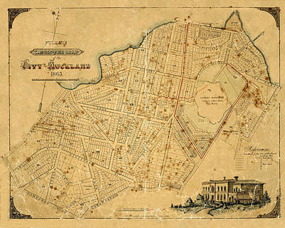 Photograph - Map Of Auckland 1863 by Andrew Fare