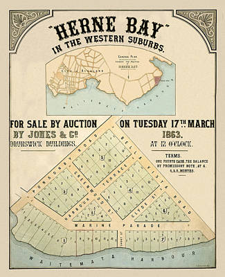 Photograph - Map Of Auckland 1863a by Andrew Fare
