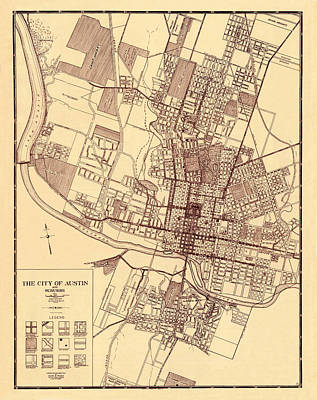 Photograph - Map Of Austin 1919 by Andrew Fare