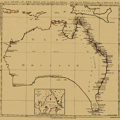 Photograph - Map Of Australia 1790 by Andrew Fare