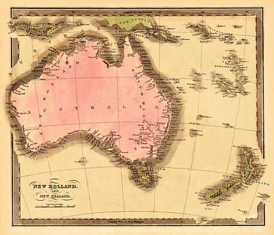 Vintage Map Photograph - Map Of Australia 1840 by Andrew Fare