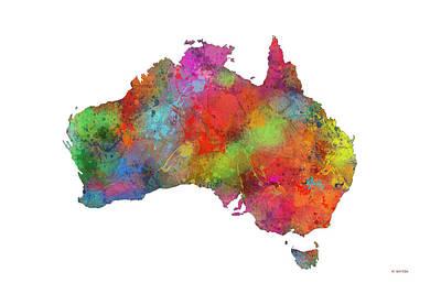 Australia Map Digital Art - Map Of Australia by Marlene Watson