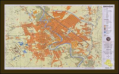 Baghdad Drawing - Map Of Baghdad Iraq by Pd