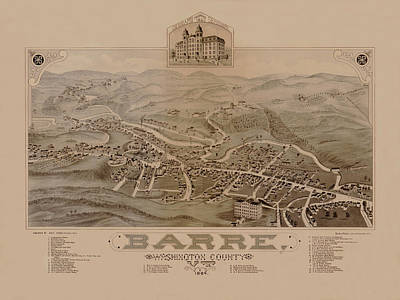 Photograph - Map Of Barre 1884 by Andrew Fare