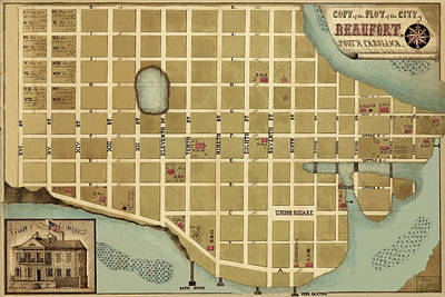 Photograph - Map Of Beaufort 1860 by Andrew Fare