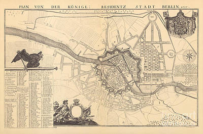 Berlin Drawing - Map Of Berlin, 1737 by G Dusableau