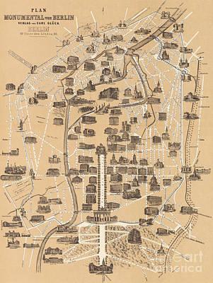 Berlin Drawing - Map Of Berlin, 1860 by German School
