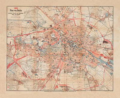 Map Of Berlin 1895 Art Print by Andrew Fare