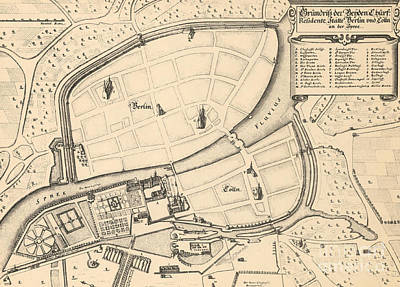 Berlin Drawing - Map Of Berlin And Coelln, 1652 by Johann Gregor Memhardt