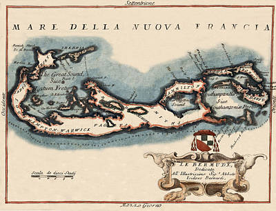 Photograph - Map Of Bermuda 1692 by Andrew Fare