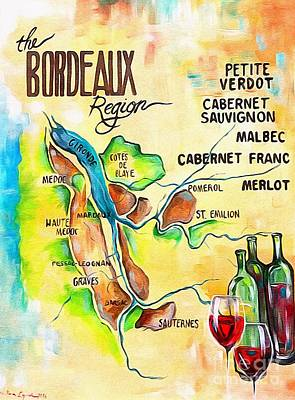 Painting - Map Of Bordeaux by Lisa Owen-Lynch