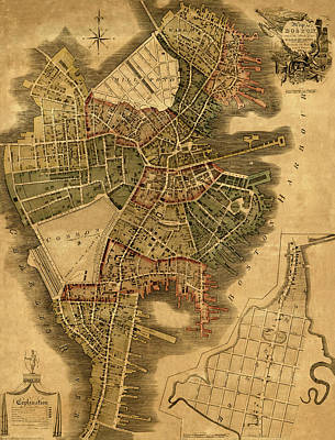Old Map Photograph - Map Of Boston 1814 by Andrew Fare