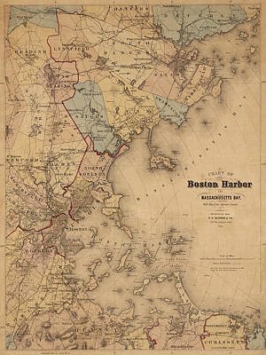 Photograph - Map Of Boston Harbor 1861 by Andrew Fare