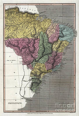 Old Map Painting - Map Of Brazil - 1822 by Pablo Romero