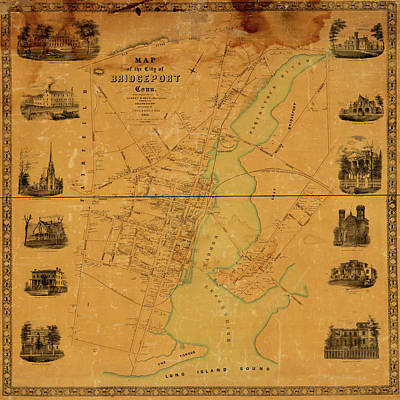 Photograph - Map Of Bridgeport 1850 by Andrew Fare