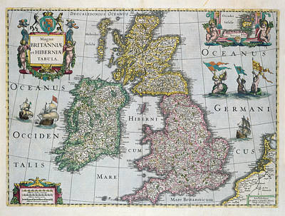 Scotland Drawing - Map Of Britain by English school