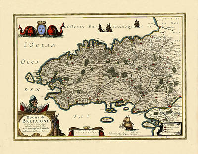 Photograph - Map Of Brittany 1636 by Andrew Fare
