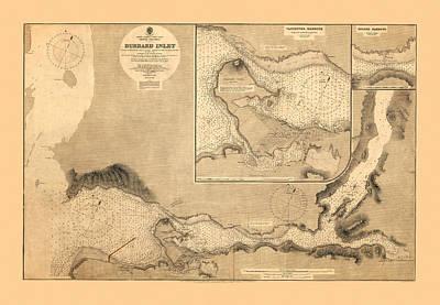 Map Of Burrard Inlet 1891 Art Print