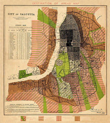 Photograph - Map Of Calcutta 1913 by Andrew Fare