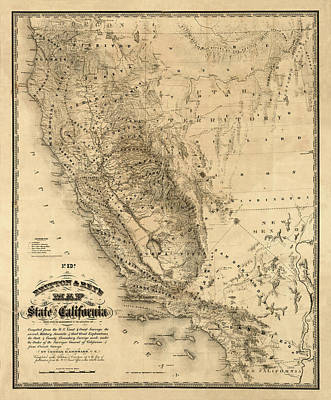 Vintage Map Photograph - Map Of California 1860 by Andrew Fare