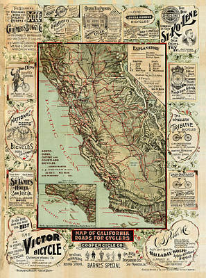 Royalty-Free and Rights-Managed Images - Map of California Roads for Cyclers - Historical maps by Studio Grafiikka