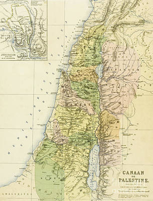 Holy Land Drawing - Map Of Canaan Or Palestine by English School