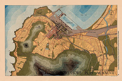 Photograph - Map Of Cape Town 1947 by Andrew Fare