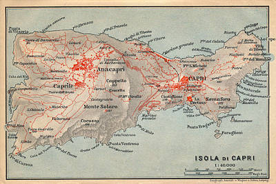 Photograph - Map Of Capri 1909 by Andrew Fare