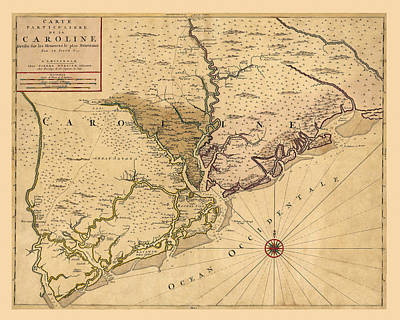 Photograph - Map Of Carolina 1695 by Andrew Fare