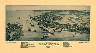 Photograph - Map Of Cedar Key 1884 by Andrew Fare