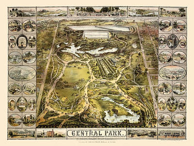 Photograph - Map Of Central Park 1863 by Andrew Fare