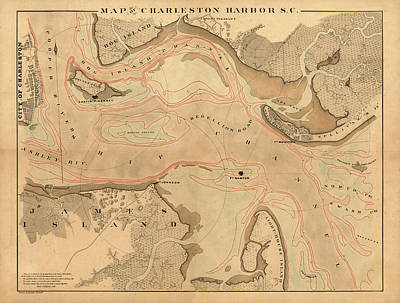 Photograph - Map Of Charleston 1880 by Andrew Fare