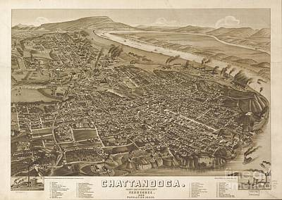 Tn Drawing - Map Of Chattanooga, County Seat Of Hamilton County, Tennessee 1886 by Baltzgar