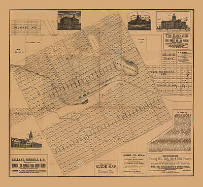 Photograph - Map Of Cheyenne 1887 by Andrew Fare