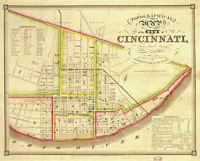 Historic Street Drawing - Map Of Cincinnati 1841 by Mountain Dreams