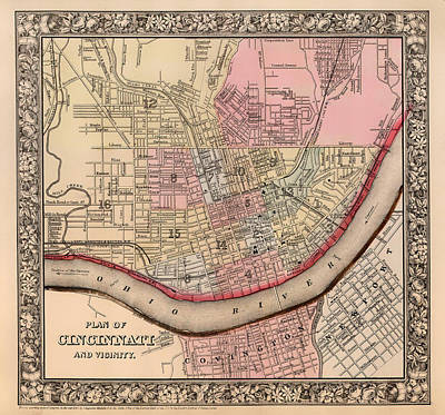 Historic Site Drawing - Map Of Cincinnati Ohio 1864 by Mountain Dreams