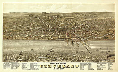 Lake Erie Drawing - Map Of Cleveland 1877 by Mountain Dreams