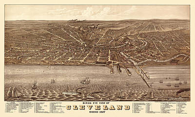 Photograph - Map Of Cleveland 1877b by Andrew Fare